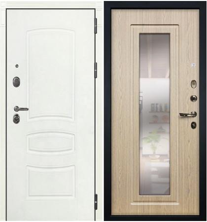 Входная дверь Легион Белая шагрень / с зеркалом Беленый дуб (панель №23)