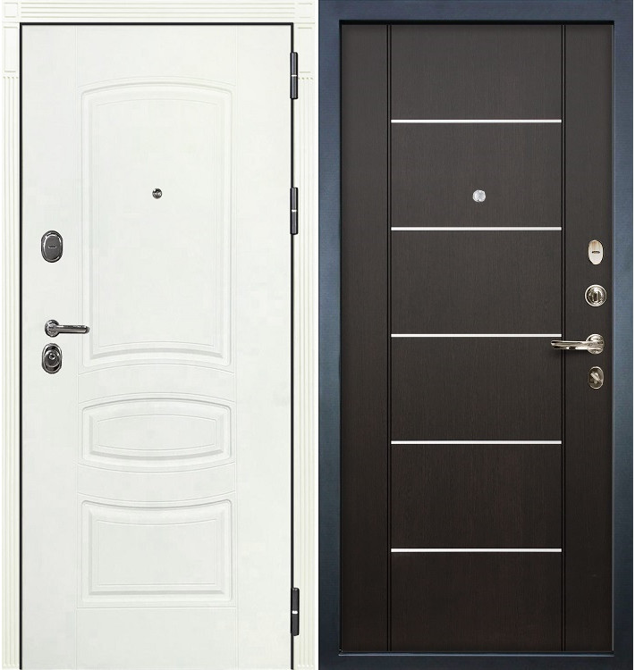Входная дверь Легион Белая шагрень / Венге (панель №24)
