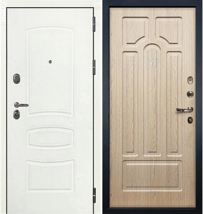 Входная дверь Легион Белая шагрень / Беленый дуб (панель №25)