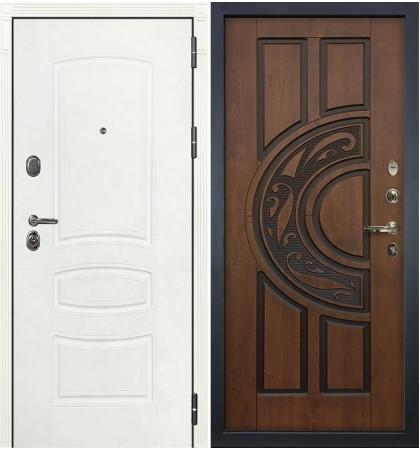 Входная дверь Легион Белая шагрень / Голден патина (панель №27)