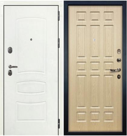 Входная дверь Легион Белая шагрень / Беленый дуб (панель №28)
