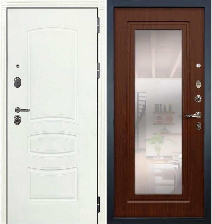 Входная дверь Легион Белая шагрень / с зеркалом Береза мореная (панель №30)