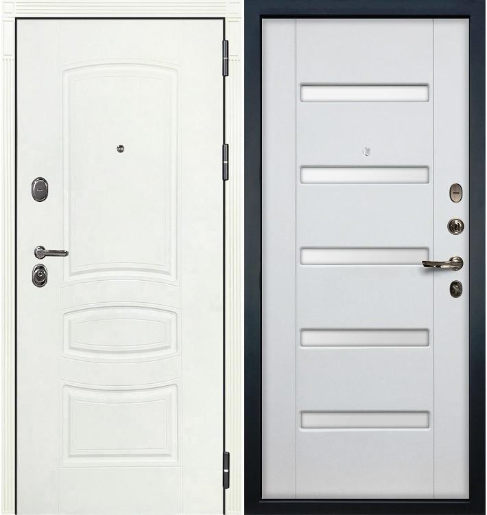 Входная дверь Легион Белая шагрень / Белый ясень (панель №34)