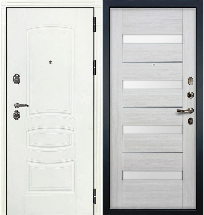 Входная дверь Легион Белая шагрень / Сицилио Беленый дуб (панель №46)