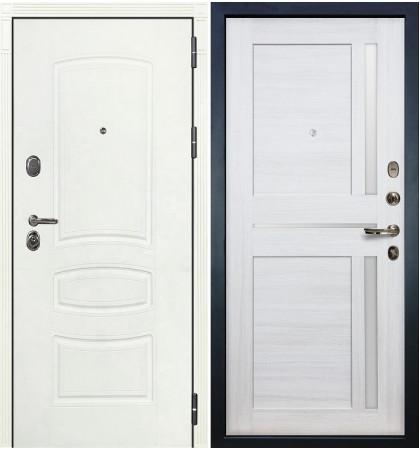 Входная дверь Легион Белая шагрень / Баджио Беленый дуб (панель №47)