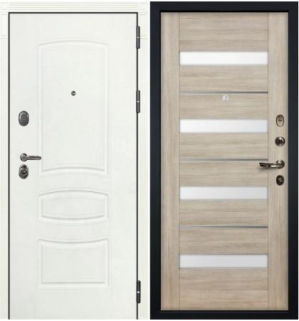 Входная дверь Легион Белая шагрень / Сицилио Ясень кремовый (панель №48)