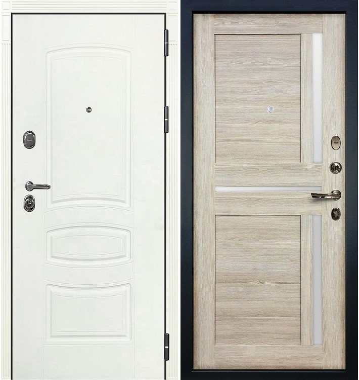 Входная дверь Легион Белая шагрень / Баджио Кремовый ясень (панель №49)