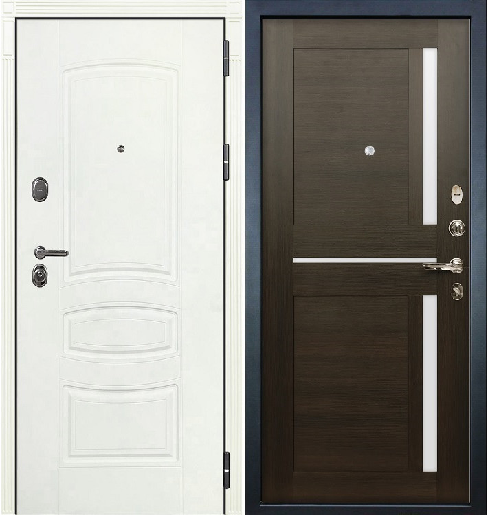 Входная дверь Легион Белая шагрень / Баджио Венге (панель №50)