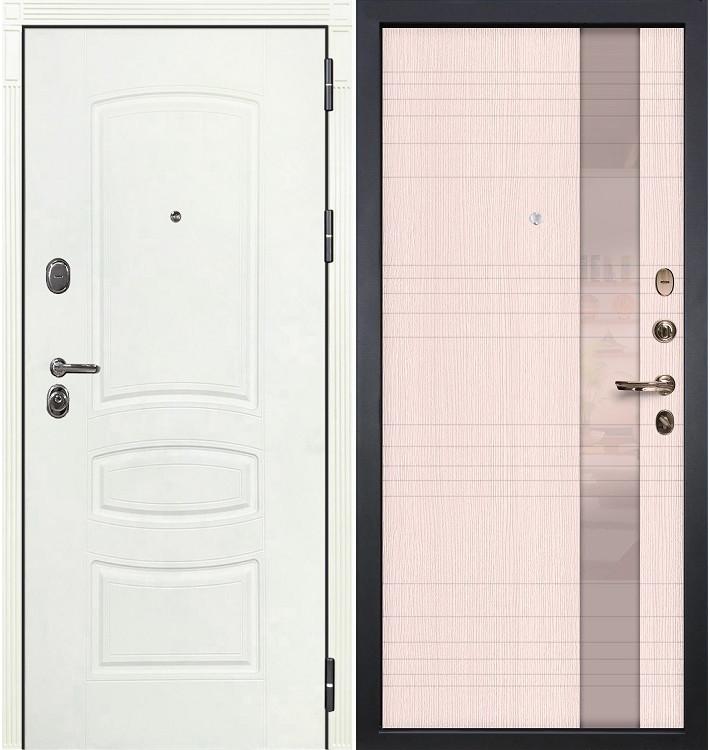 Входная дверь Легион Белая шагрень / Новита Беленый дуб (панель №52)