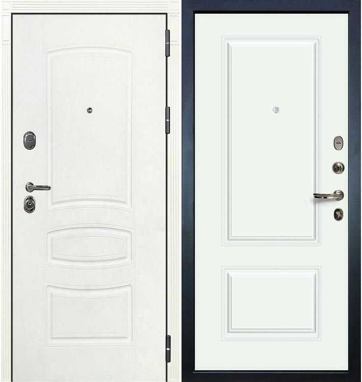 Входная дверь Легион Белая шагрень / Вероника Белая эмаль (панель №55)