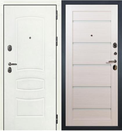 Входная дверь Легион Белая шагрень / Клеопатра Беленый дуб (панель №58)