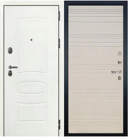 Входная дверь Легион Белая шагрень / Дуб фактурный крем (панель №63)