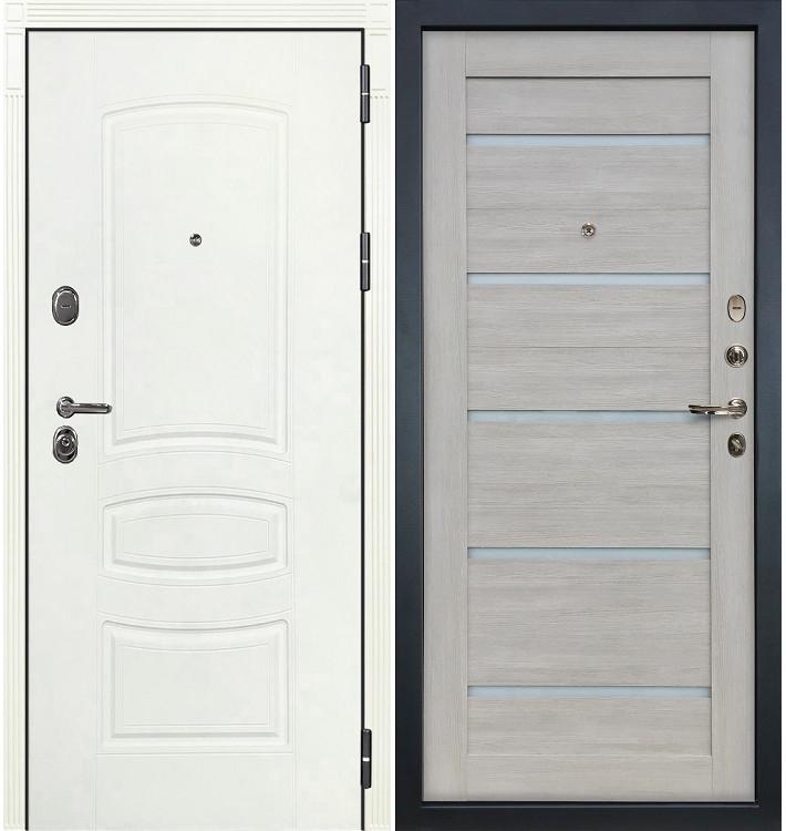 Входная дверь Легион Белая шагрень / Клеопатра Ясень кремовый (панель №66)