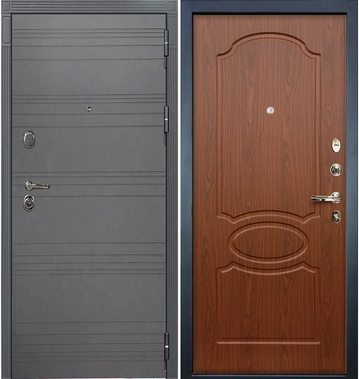 Входная дверь Легион Графит софт / Береза мореная (панель №12)