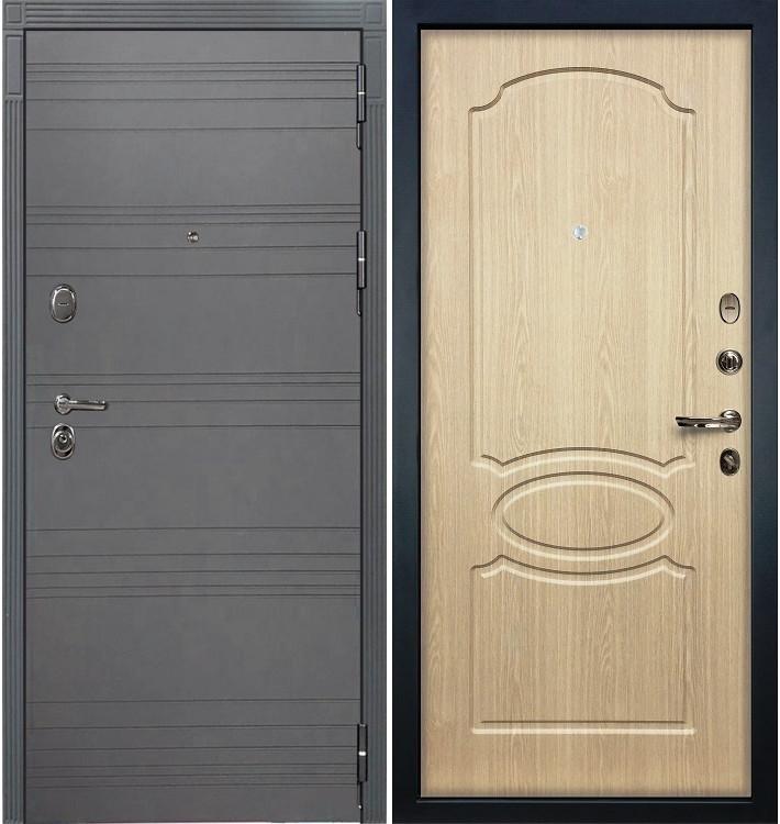 Входная дверь Легион Графит софт / Беленый дуб (панель №14)