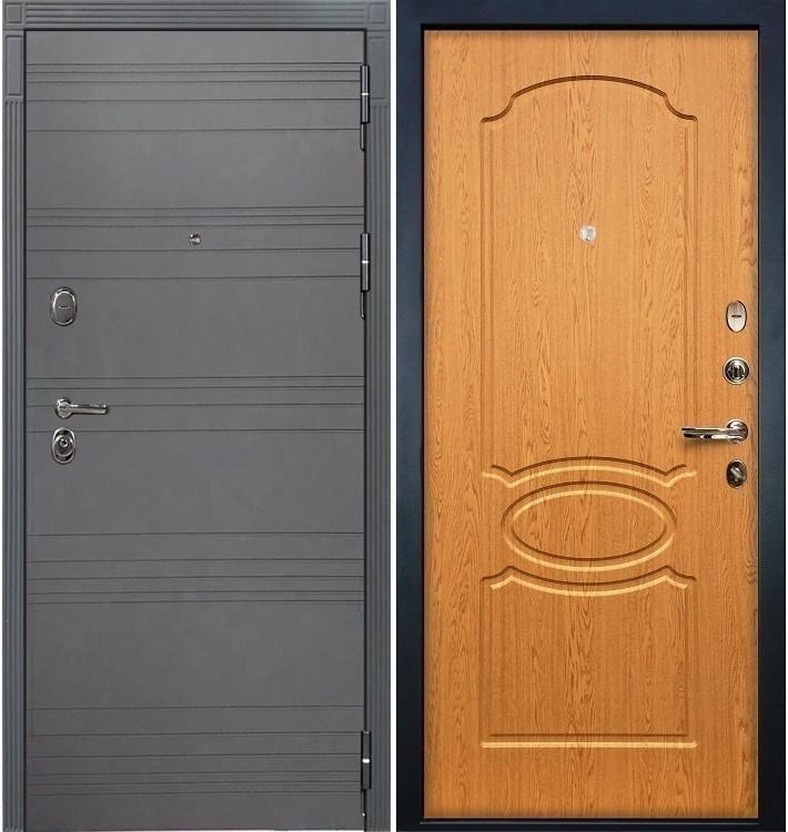 Входная дверь Легион Графит софт / Дуб натуральный (панель №15)