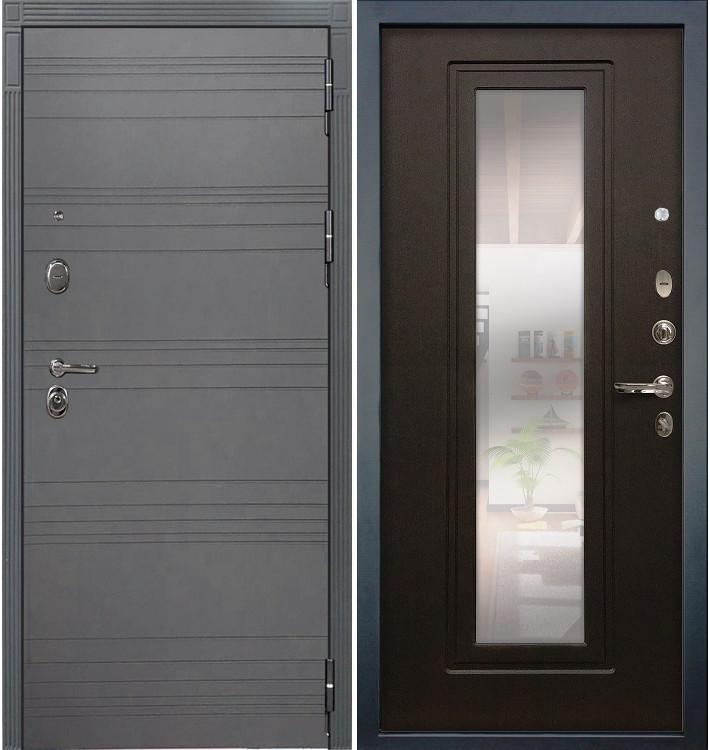 Входная дверь Легион Графит софт / с зеркалом Венге (панель №22)