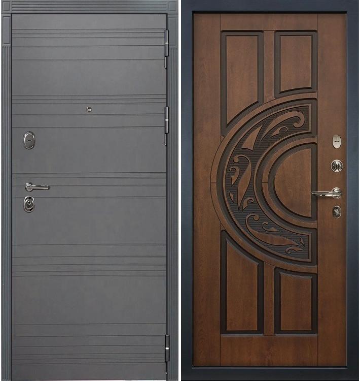 Входная дверь Легион Графит софт / Голден патина (панель №27)
