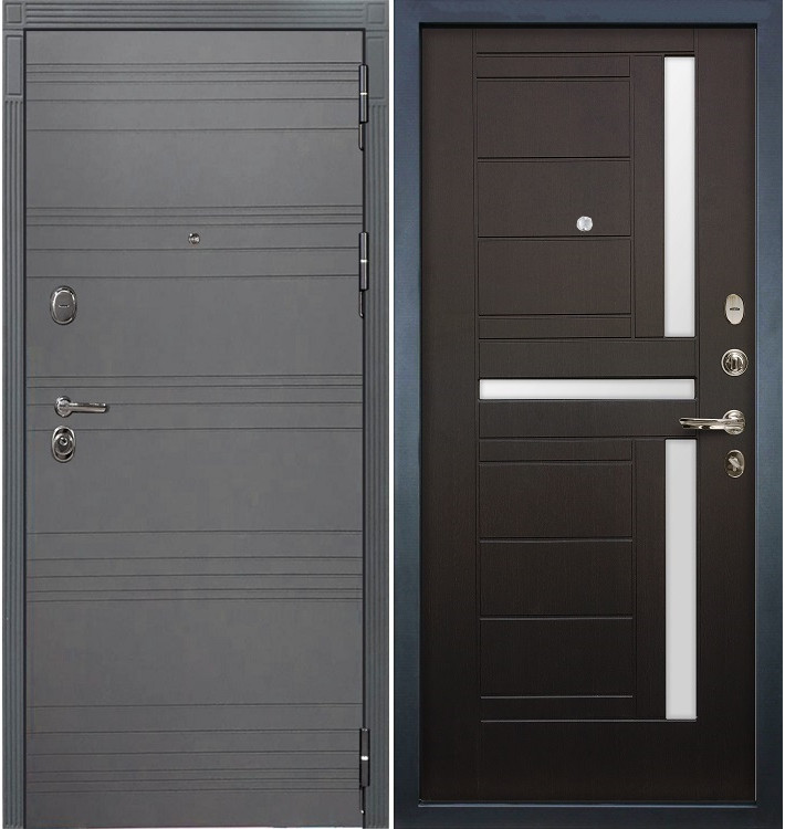 Входная дверь Легион Графит софт / Венге (панель №35)