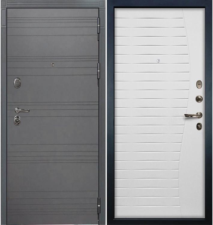 Входная дверь Легион Графит софт / Волна Белый ясень (панель №36)