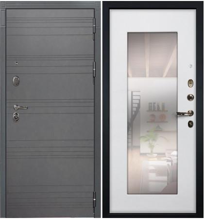 Входная дверь Легион Графит софт / с зеркалом Белый ясень (панель №37)