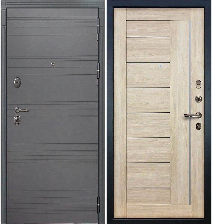 Входная дверь Легион Графит софт / Верджиния Кремовый ясень (панель №40)