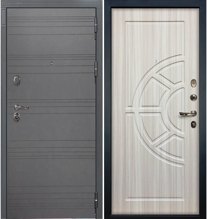 Входная дверь Легион Графит софт / Сандал белый (панель №44)