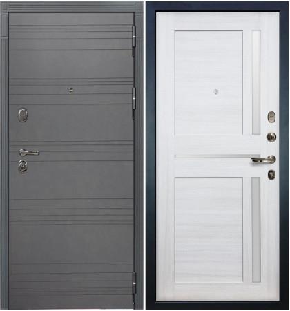 Входная дверь Легион Графит софт / Баджио Беленый дуб (панель №47)
