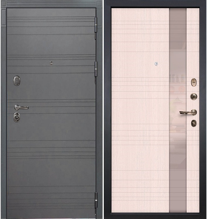 Входная дверь Легион Графит софт / Новита Беленый дуб (панель №52)