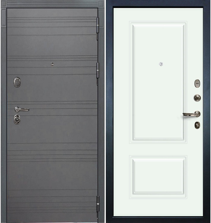 Входная дверь Легион Графит софт / Вероника Белая эмаль (панель №55)