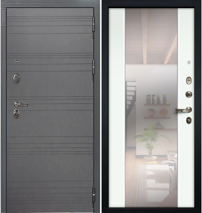 Входная дверь Легион Графит софт / Стиль Белый экошпон (панель №61)