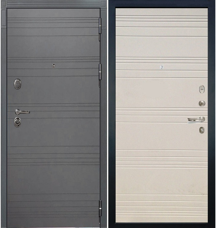 Входная дверь Легион Графит софт / Дуб фактурный крем (панель №63)