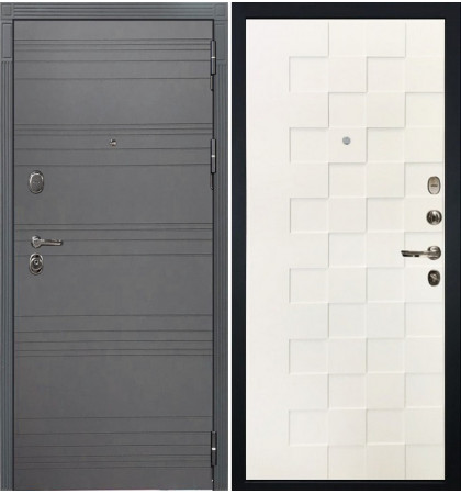 Входная дверь Легион Графит софт / Квадро Белая шагрень (панель №71)
