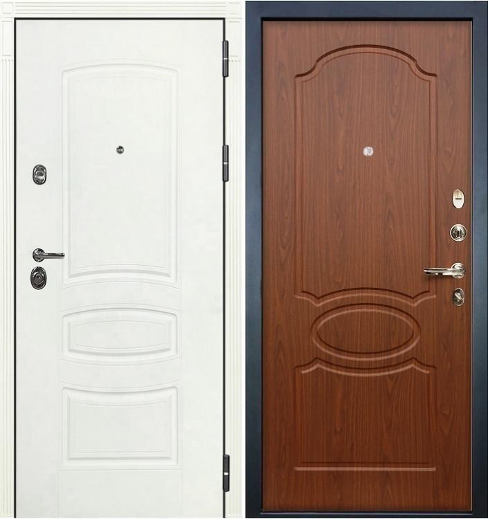 Входная дверь Лекс Сенатор 3К Белая шагрень / Береза мореная (панель №12)
