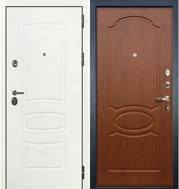 Входная дверь Сенатор 3К Белая шагрень / Береза мореная (панель №12)