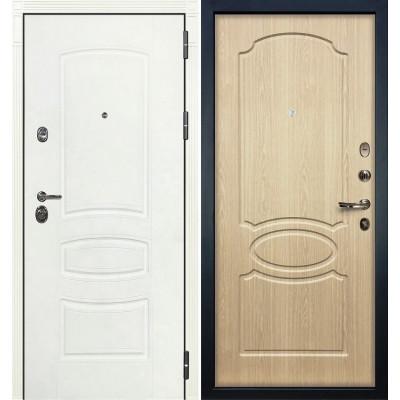 Входная дверь Лекс Сенатор 3К Белая шагрень / Беленый дуб (панель №14)
