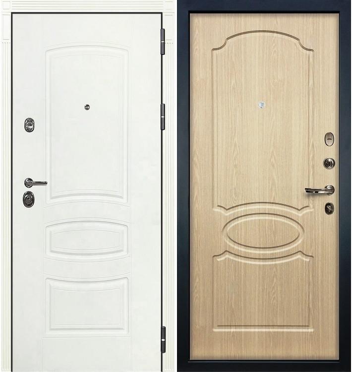 Входная дверь Сенатор 3К Белая шагрень / Беленый дуб (панель №14)