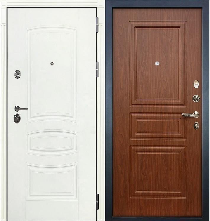 Входная дверь Сенатор 3К Белая шагрень / Береза мореная (панель №19)