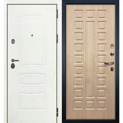 Входная дверь Лекс Сенатор 3К Белая шагрень / Беленый дуб (панель №20)
