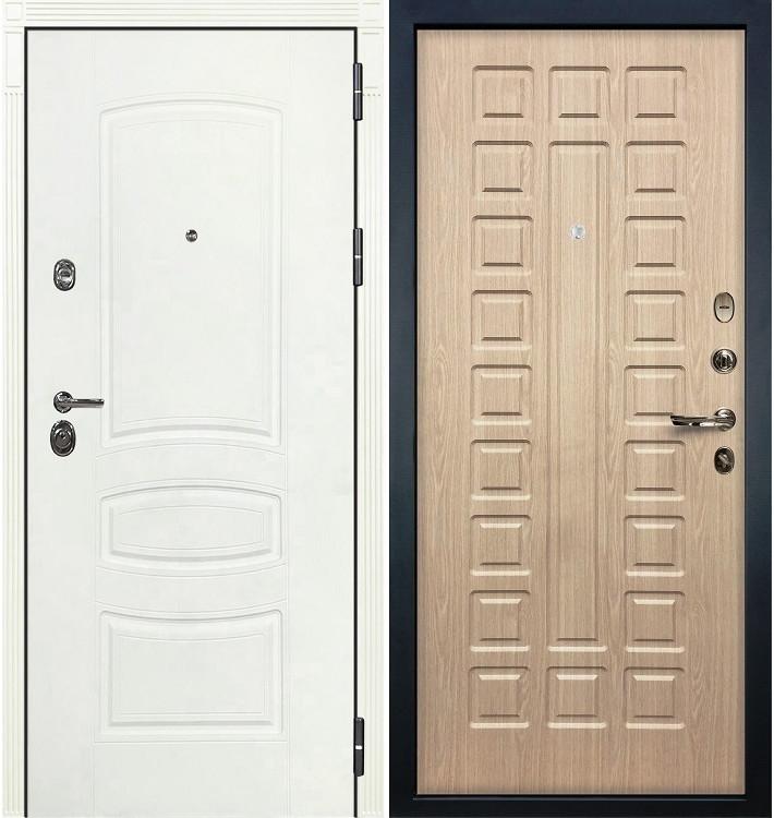 Входная дверь Сенатор 3К Белая шагрень / Беленый дуб (панель №20)