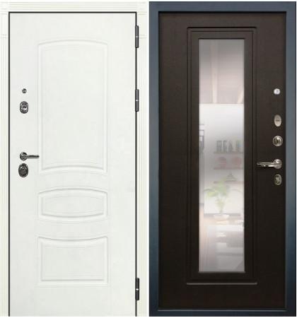 Входная дверь Сенатор 3К Белая шагрень / с зеркалом Венге (панель №22)