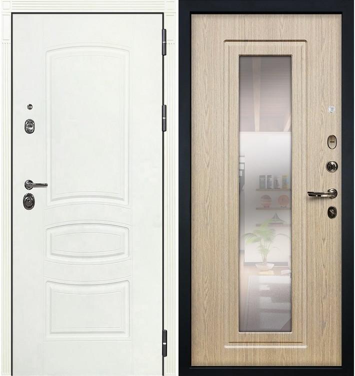 Входная дверь Сенатор 3К Белая шагрень / с зеркалом Беленый дуб (панель №23)