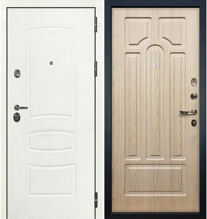 Входная дверь Сенатор 3К Белая шагрень / Беленый дуб (панель №25)