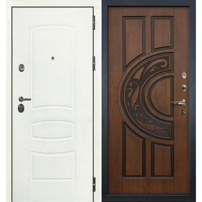 Входная дверь Лекс Сенатор 3К Белая шагрень / Голден патина черная (панель №27)