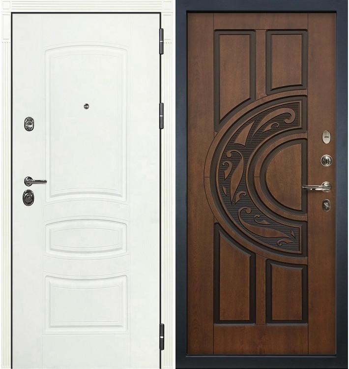 Входная дверь Сенатор 3К Белая шагрень / Голден патина черная (панель №27)