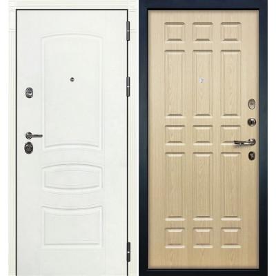 Входная дверь Лекс Сенатор 3К Белая шагрень / Беленый дуб (панель №28)