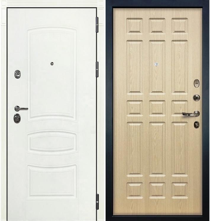 Входная дверь Сенатор 3К Белая шагрень / Беленый дуб (панель №28)