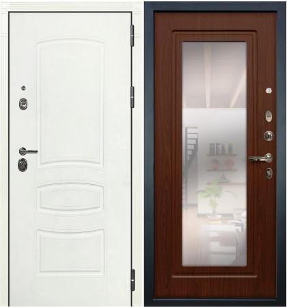 Входная дверь Сенатор 3К Белая шагрень / с зеркалом Береза мореная (панель №30)
