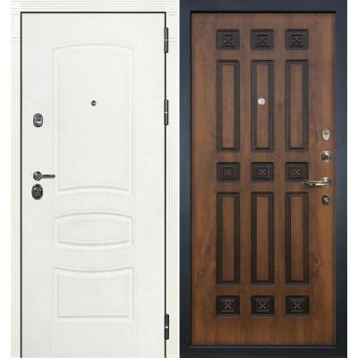Входная дверь Лекс Сенатор 3К Белая шагрень / Голден патина черная (панель №33)
