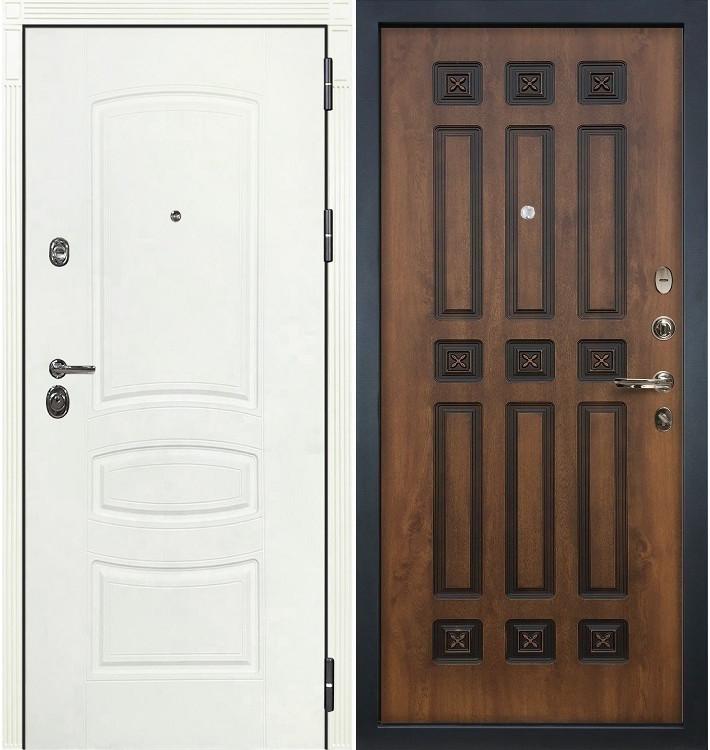 Входная дверь Сенатор 3К Белая шагрень / Голден патина черная (панель №33)